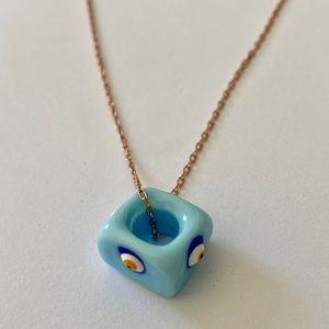 Jewelry - 🧿Silver light blue evil eye bead necklace